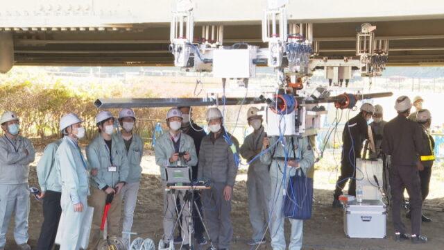 山梨県甲府市で見学会 ICT技術活用 ロボットで橋を点検 | UTYテレビ山梨